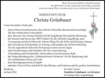 Traueranzeige von Christa Grünbauer von merkurtz