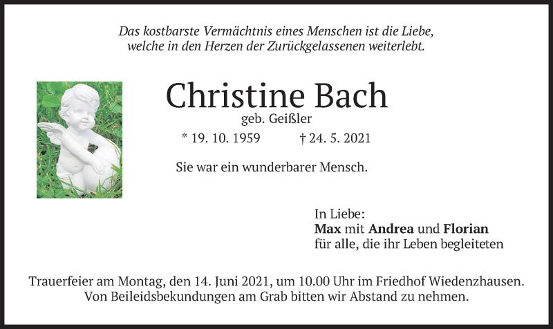 Traueranzeige für Christine Bach vom 10.06.2021 aus merkurtz