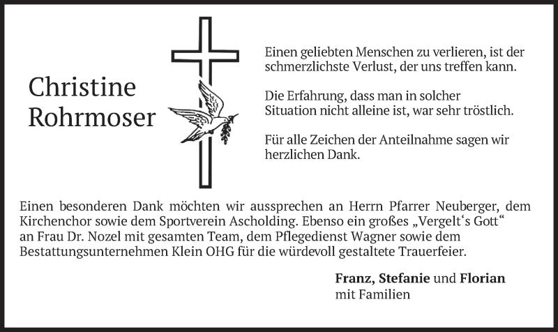 Traueranzeige für Christine Rohrmoser vom 05.06.2021 aus merkurtz