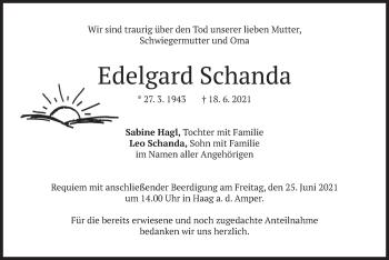 Traueranzeige von Edelgard Schanda von merkurtz