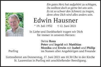 Traueranzeige von Edwin Hausner von merkurtz