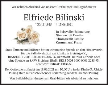 Traueranzeige von Elfriede Bilinski von merkurtz