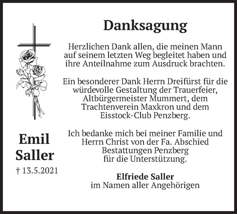 Traueranzeige für Emil Saller vom 05.06.2021 aus merkurtz