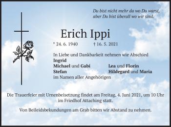 Traueranzeige von Erich Ippi von merkurtz