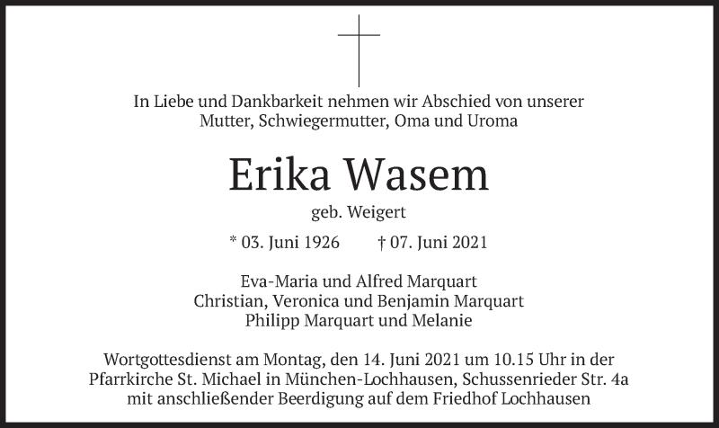 Traueranzeige für Erika Wasem vom 10.06.2021 aus merkurtz