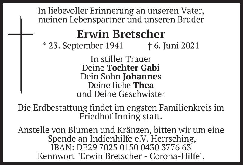 Traueranzeige für Erwin Bretscher vom 10.06.2021 aus merkurtz