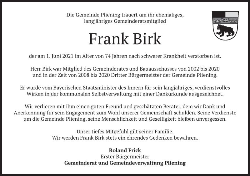 Traueranzeige für Frank Birk vom 12.06.2021 aus merkurtz