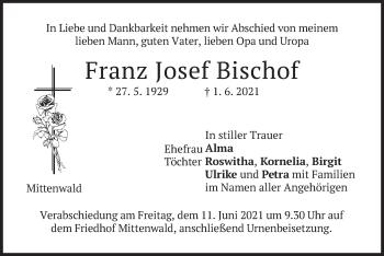 Traueranzeige von Franz Josef Bischof von merkurtz