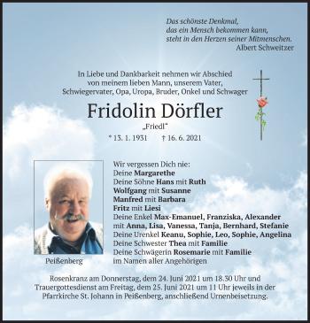 Traueranzeige von Fridolin Dörfler von merkurtz