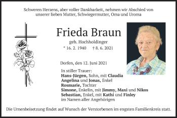 Traueranzeige von Frieda Braun von merkurtz