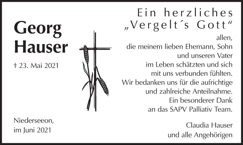 Traueranzeige für Georg Hauser vom 05.06.2021 aus merkurtz
