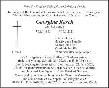 Traueranzeige von Georgine Resch von merkurtz