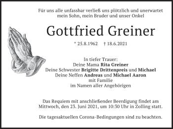 Traueranzeige von Gottfried Greiner von merkurtz