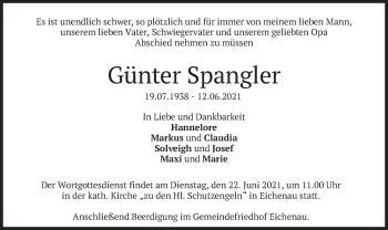 Traueranzeige von Günter Spangler von merkurtz