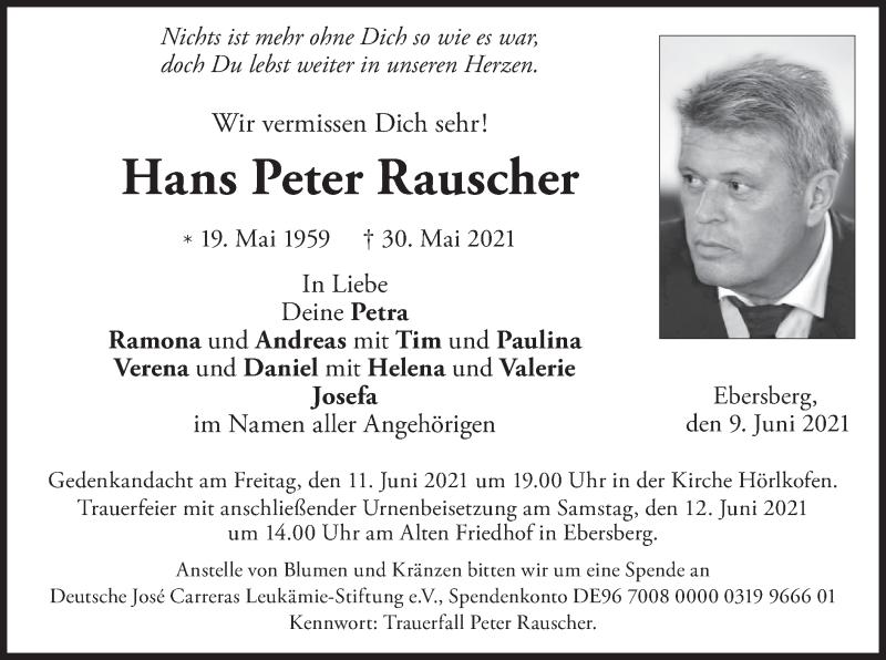 Traueranzeige für Hans Peter Rauscher vom 09.06.2021 aus merkurtz