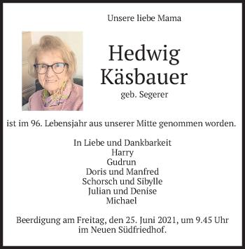 Traueranzeige von Hedwig Käsbauer von merkurtz