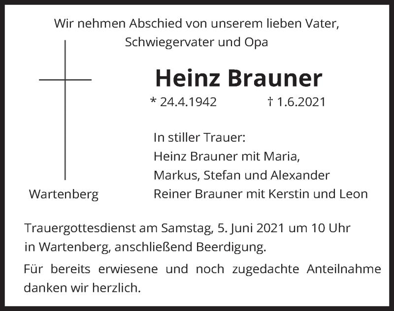 Traueranzeige für Heinz Brauner vom 02.06.2021 aus merkurtz