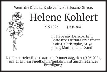 Traueranzeige von Helene Kohlert von merkurtz