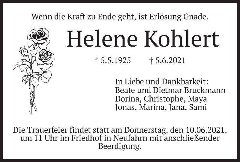 Traueranzeige für Helene Kohlert vom 08.06.2021 aus merkurtz