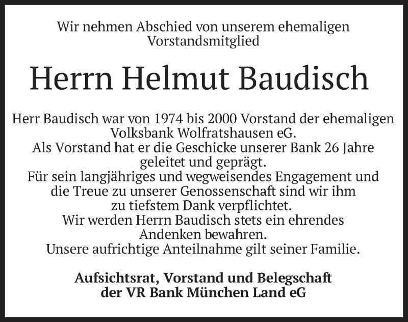 Traueranzeige für Helmut Baudisch vom 08.06.2021 aus merkurtz