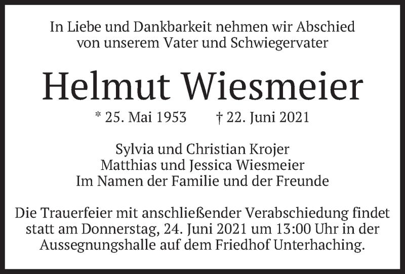 Traueranzeige für Helmut Wiesmeier vom 23.06.2021 aus merkurtz