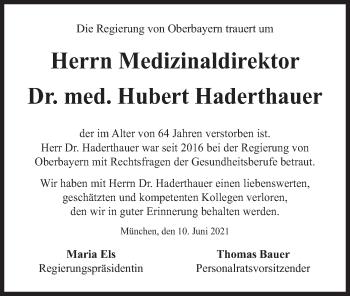 Traueranzeige von Hubert Haderthauer von merkurtz