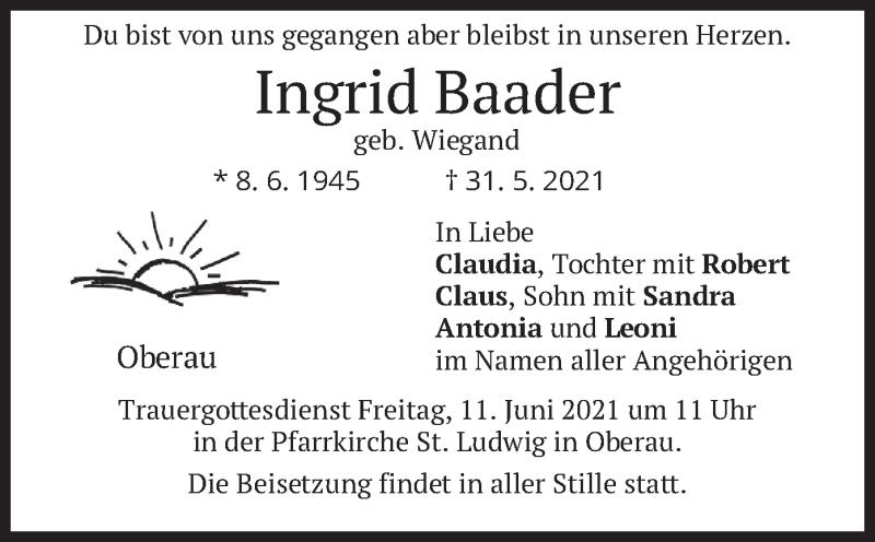 Traueranzeige für Ingrid Baader vom 07.06.2021 aus merkurtz
