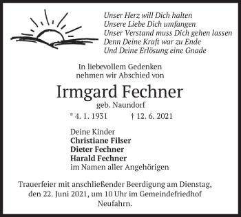 Traueranzeige von Irmgard Fechner von merkurtz