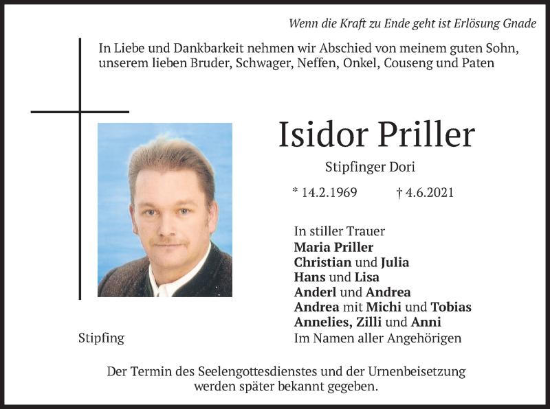 Traueranzeige für Isidor Priller vom 08.06.2021 aus merkurtz