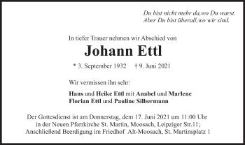 Traueranzeige von Johann Ettl von merkurtz