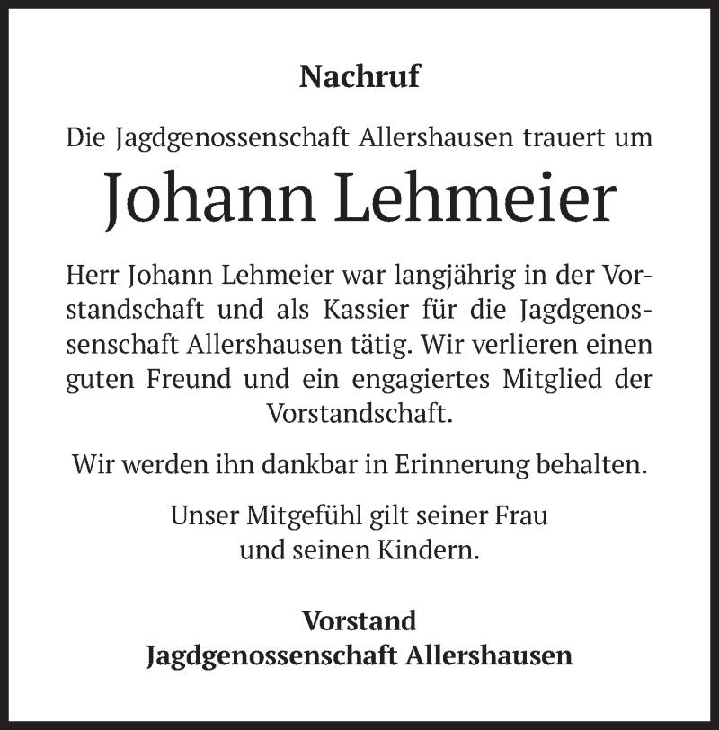 Traueranzeige für Johann Lehmeier vom 16.06.2021 aus merkurtz