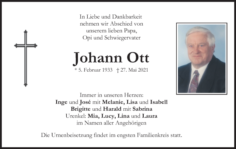 Traueranzeige für Johann Ott vom 05.06.2021 aus merkurtz