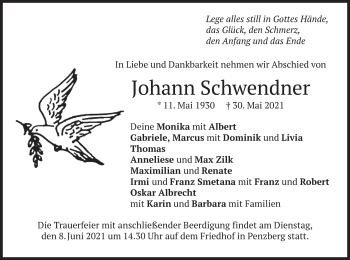 Traueranzeige von Johann Schwendner von merkurtz