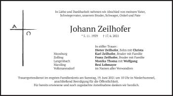 Traueranzeige von Johann Zeilhofer von merkurtz