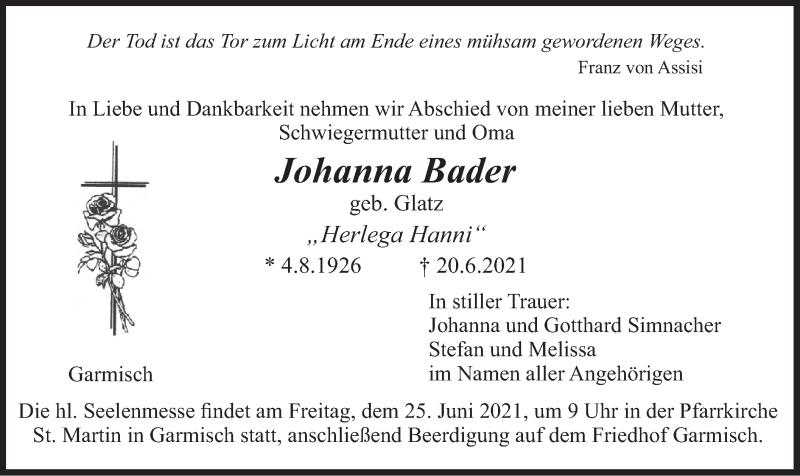 Traueranzeige für Johanna Bader vom 23.06.2021 aus merkurtz