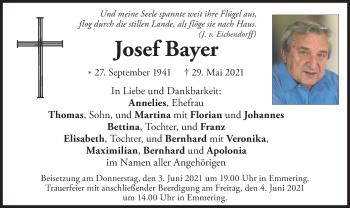 Traueranzeige von Josef Bayer von merkurtz