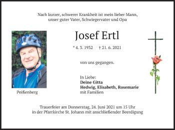 Traueranzeige von Josef Ertl von merkurtz