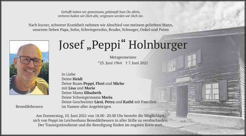 Traueranzeige für Josef  Holnburger vom 09.06.2021 aus merkurtz