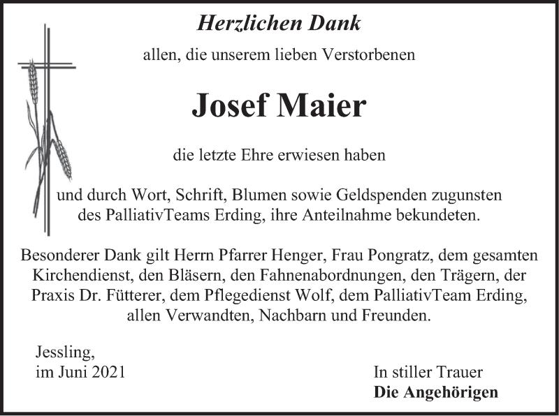 Traueranzeige für Josef Maier vom 12.06.2021 aus merkurtz