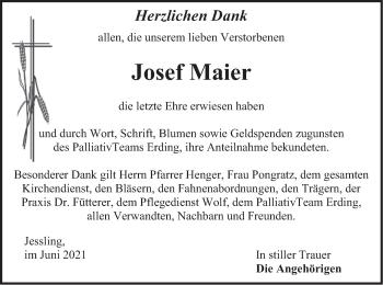 Traueranzeige von Josef Maier von merkurtz
