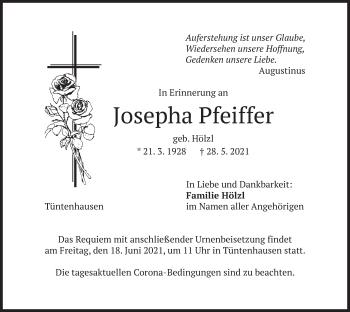 Traueranzeige von Josepha Pfeiffer von merkurtz