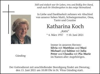 Traueranzeige von Katharina Koch von merkurtz