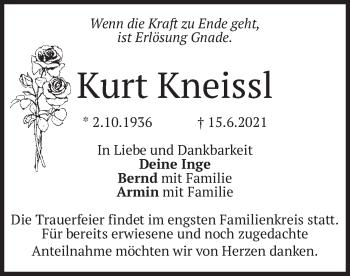 Traueranzeige von Kurt Kneissl von merkurtz