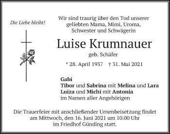 Traueranzeige von Luise Krumnauer von merkurtz