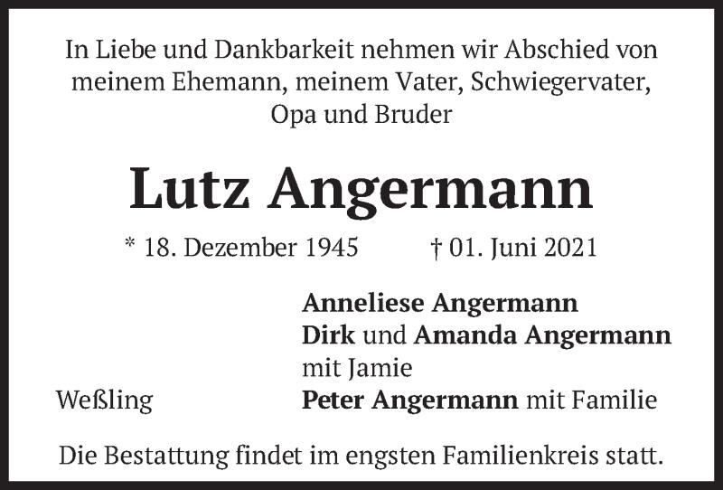 Traueranzeige für Lutz Angermann vom 05.06.2021 aus merkurtz