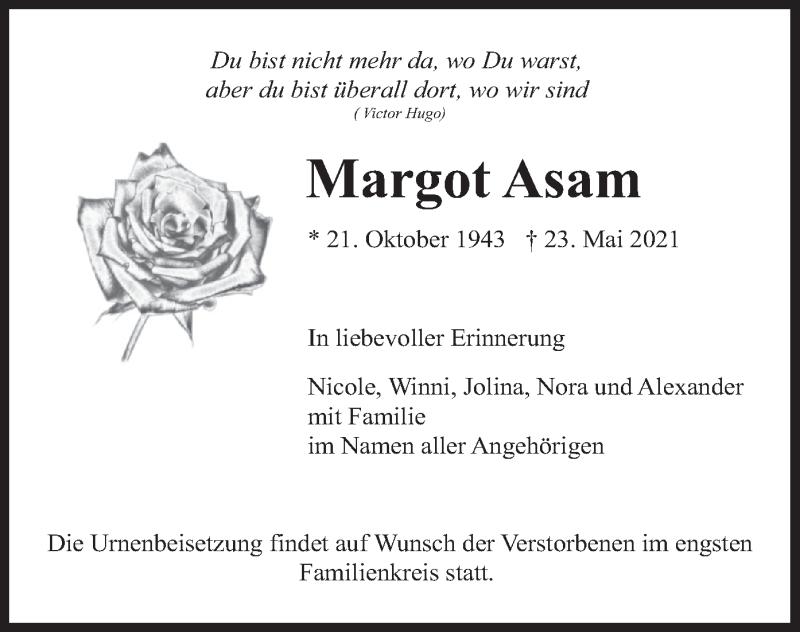 Traueranzeige für Margot Asam vom 05.06.2021 aus merkurtz