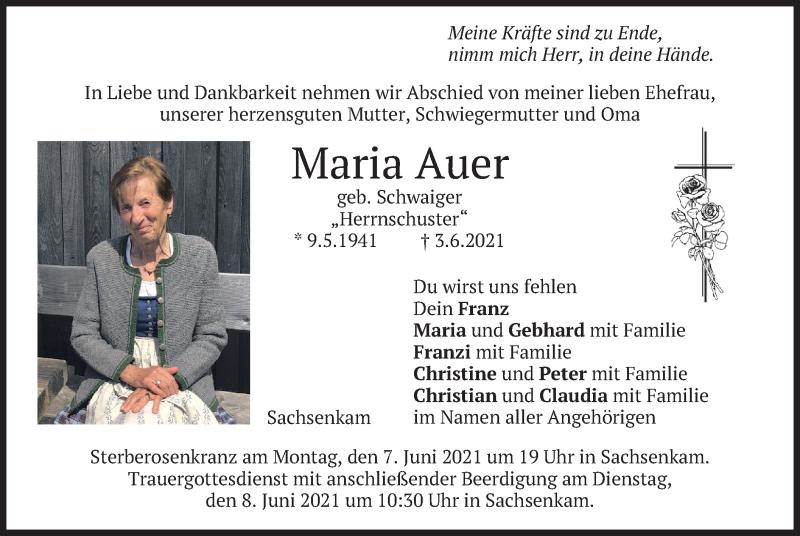 Traueranzeige für Maria Auer vom 05.06.2021 aus merkurtz