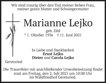 Traueranzeige von Marianne Lejko von merkurtz