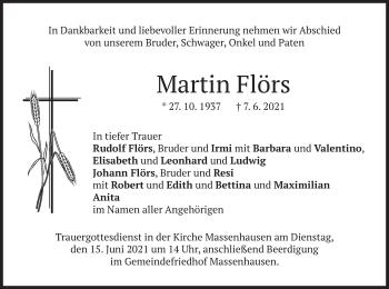 Traueranzeige von Martin Flörs von merkurtz