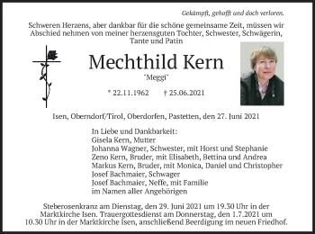 Traueranzeige von Mechthild Kern von merkurtz